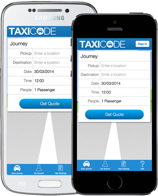 Taxicode App on iPhone and Android